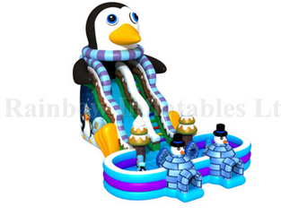 RB01018(13x9.5x9m) Inflatable penguin slide with pool , Inflatable Funcity With Slide For Kids