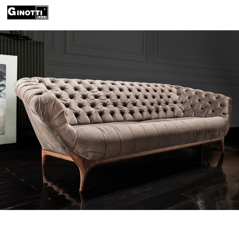 Scandinavian Design Crystal Tufted Vintage Velvet Sofa With Crystal Buttons