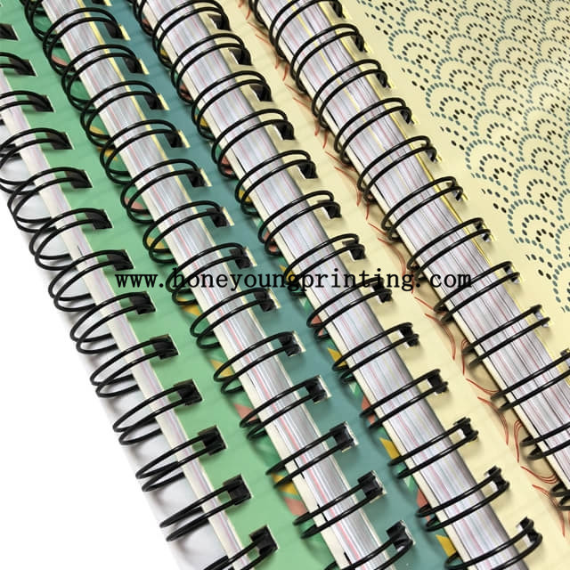 Double spiral notebook 6 subject with insert color paper single line assorted designs
