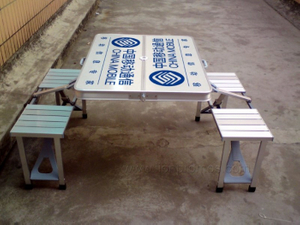 Telecom Bank Insurance Outdoor Campaign Advertising Aluminum Alloy Folding Table with Chair