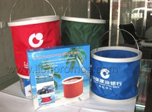 Bank Logo Promotional Gift Outdoor Camping Car Oxford Folding Up Bucket