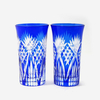 hand cut 7 oz cobalt blue glass tumbler