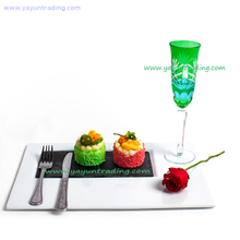 elegant green glass champagne flute with hand etched for five hotel