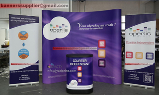 High Quality Trade Show Combo (a POP up backdrop + 2 roll up banner + a Display Podium/Case), With custom Printing, Custom 3X3M Exhibition Booth