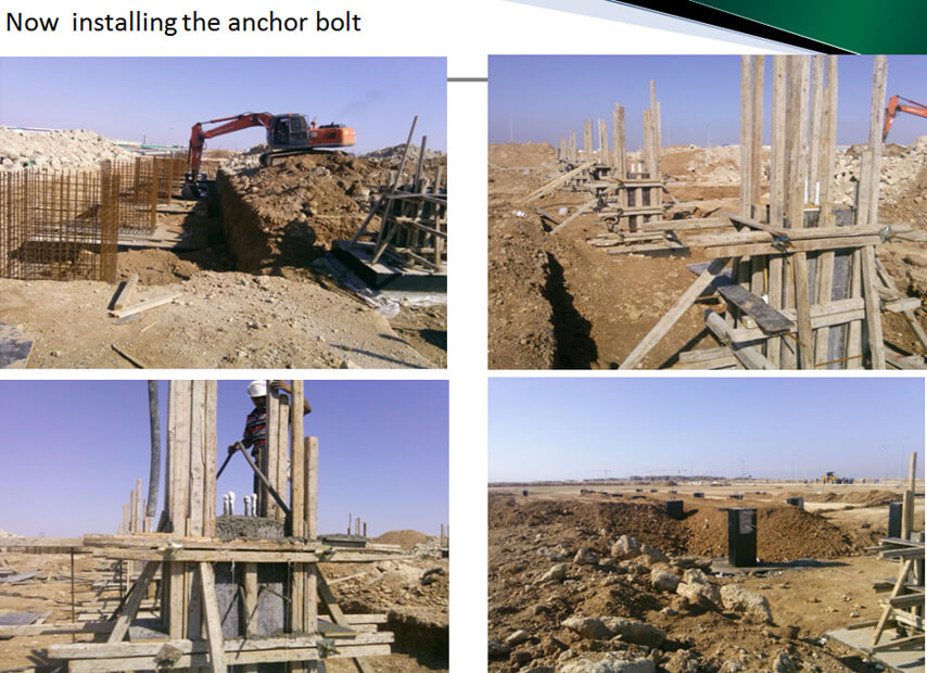 Saudi Arabia steel structure plant project anchor bolt installation