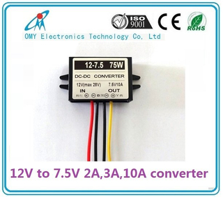 12V step down 7.5V 2A/3A/6A/10A ABS Plastic IP65 waterproof dc dc converter power converter