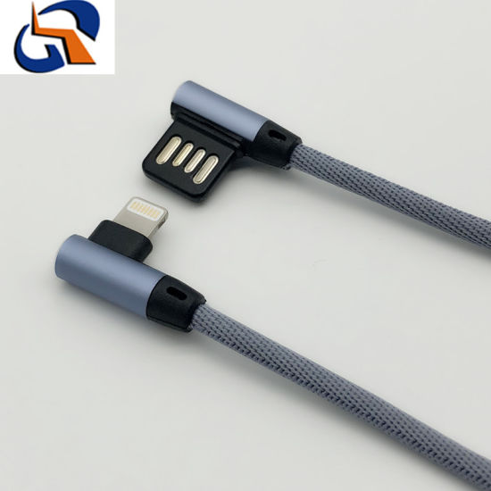 USB Fabric Weaving Double Elbow Charging Data Cable for iPhone