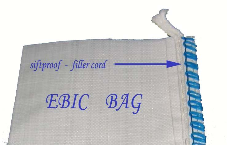 Big Bag with filler cord as siftproof / anti-leaking material