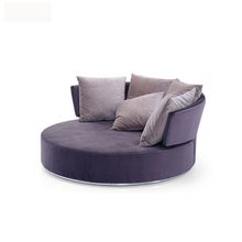 Big round shape wood frame comfy swivel accent sofa chair for living room