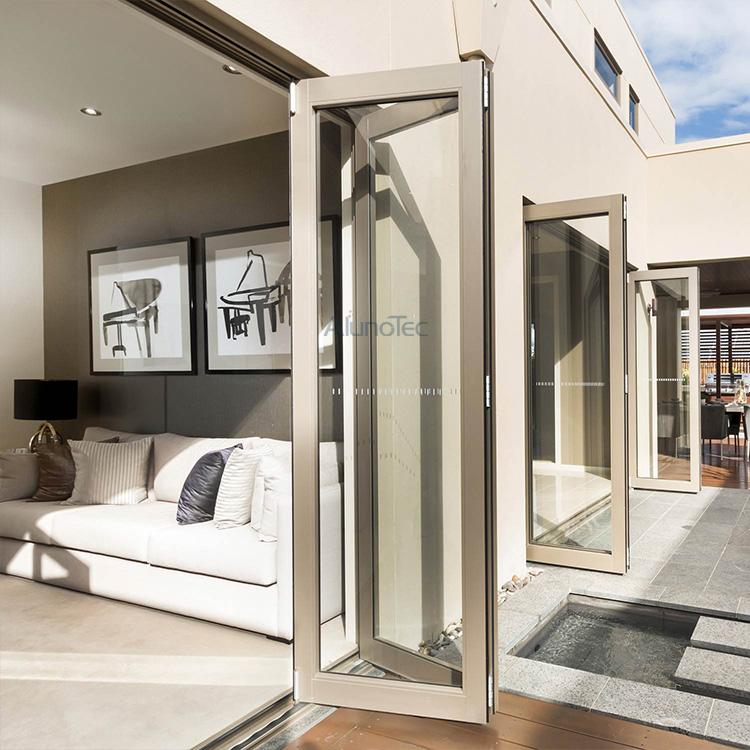 Aluminum Heavy Duty Folding Door With Double Glazed Glass
