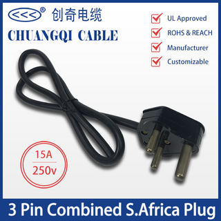3 Pin Combined S.Africa Plug South African Power Cord with Cable UL Certification Approved