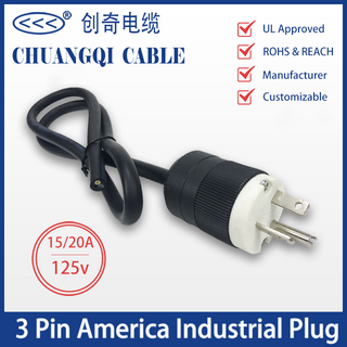 3 Pin America Industrial Plug US Canada Power Cord with Cable UL Certification Approved