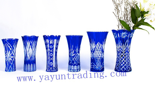 traditional hand cut cobalt blue glass vase