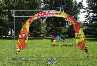 cheap Sports race printed fabric custom entrance arch gate event display flag banner, advertising rainbow race gate display semicircle flag