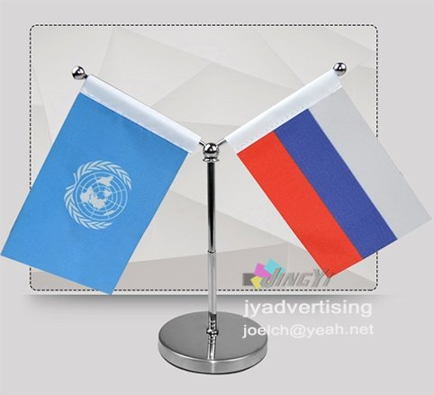 Quality Mini Car Flag Stand Adjustable Pole Y Mode Table & Desk Top Flags