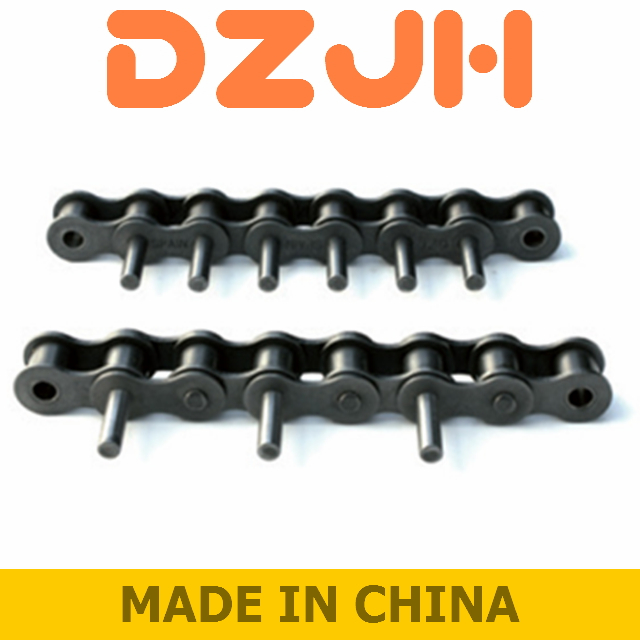 Roller chains with extended bearing pins