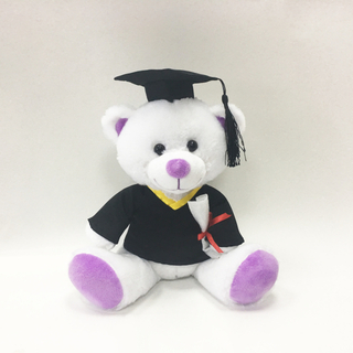 Stuffed Graduation White Bear plush purper paw with Cloth