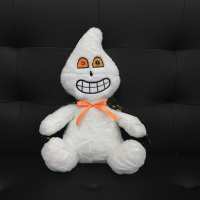 White Ghost Plush Toys for Halloween Gifts with Funny Emoji