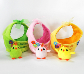 Happy Easter Decoration Gift Plush Easter Bunny Basket with Chicken