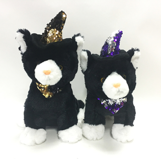 Cute Soft Plush Cat White And Black Halloween Plush Toys