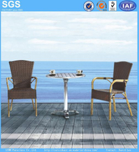 Outdoor Dining Set Bamboo Aluminum Rattan Chair and Table