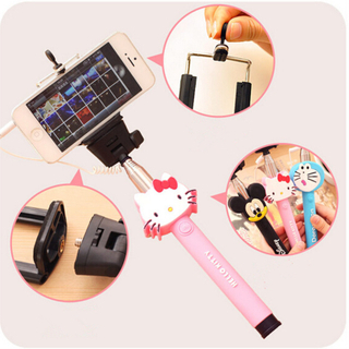 Universal Cartoon Monopod Foldable Tripod Extendable Selfie Stick with Wired for Smartphone