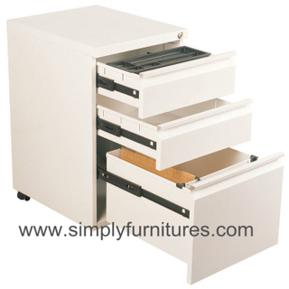 3 drawers mobile metal cabinet