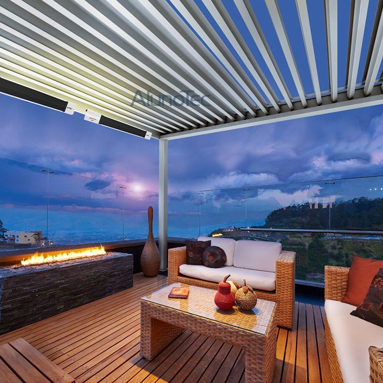Pergola Louvre Roof System With Led Lights Buy Aluminum