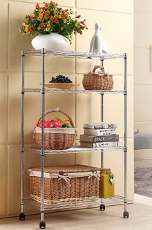 Four Tiers Chrome Plated Home Use Wheeled Wire Shelf (9035170)
