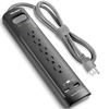 Surge Protector 5 Outlets 2 Smart USB Ports Black