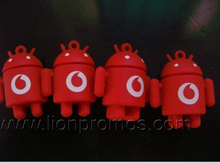 Vodafone Logo Embossed Custom Silicone Android Robot Shape Keychain