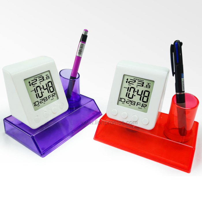 Carbon Zero Eco Friendly Desktop Water Power Alarm Clock Calender Temerature with Pen Holder XD-189