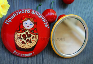 Wedding Gift Woman Cosmetic Metal Tin Plate Mirror