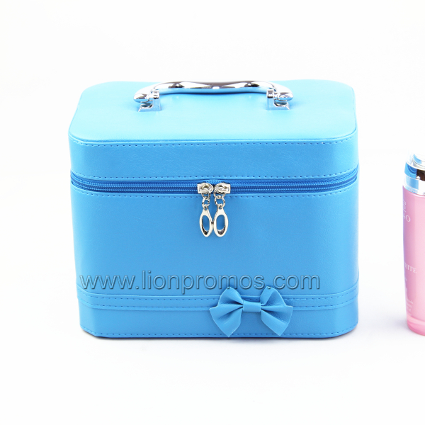 Lady Travel Gift Fashional PU Leather Bowknot Cosmetic Box