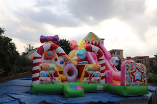 Inflatable Hot Colorful Candy Series Theme Funcity with Slides