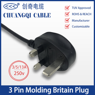 3 Pin Injection Molding Britain Plug British Power Cord with Cable TUV Certification Approved