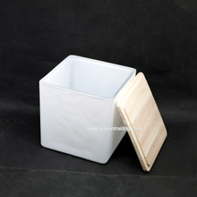 matte white square votive glass candle container with wood lid