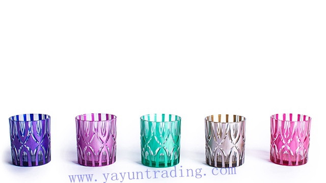 metallic series purple green blue colored glass candle holder