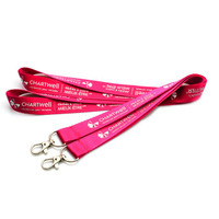 Custom Pink Color Nylon Lanyards With White Color Logo Printing for Id Holders