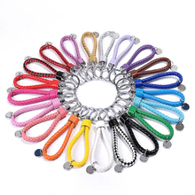 New Fashion Colorful Leather Strap Weave Rope Keyring