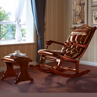 Rocking Chair and Leather Ottoman for Home Furniture