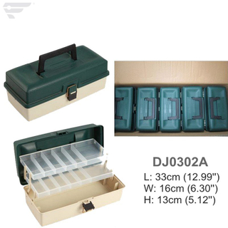 DJ0302A Green Color 2 Tray Sorted Plastic Box