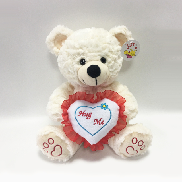 Cute Beige Valentine Teddy Bear Hug Big Red Heart Plush Toy