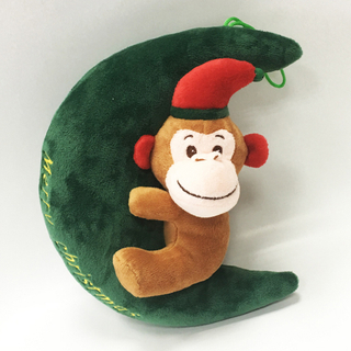 Lovely Green Christmas Stuffed Plush Moon with Monkey Toy