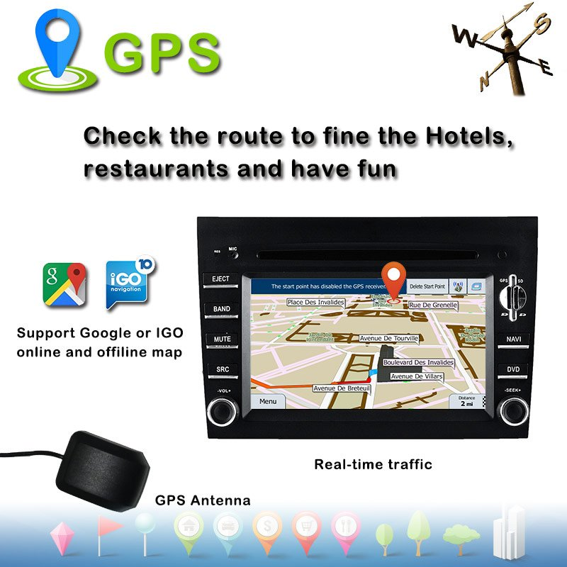 carplay gps navigation Prosche boxter/997 audio navigatior flash 2+16G