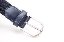 AFM7064 Mens Navy Braided Elastic Belt with Silver Buckle