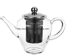 Glass teapot with stainless steel lid