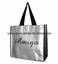 Shopper Bag, Silver Foil Laminated and Nylon Handles (LYSP11)