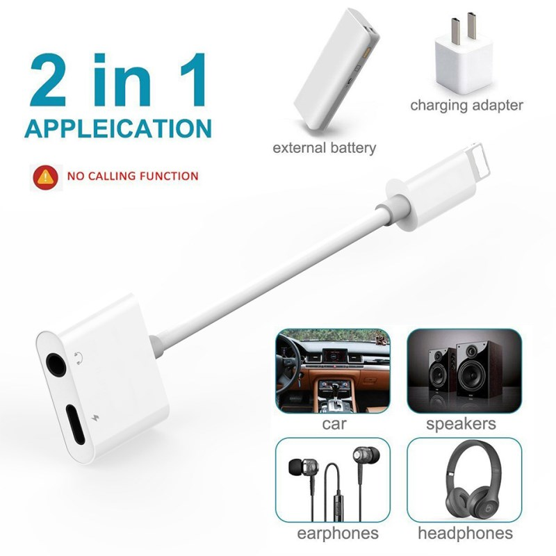2-in-1 Adapter Cable for IPhone Dual Ports Lightning To 3.5mm Adapter for IPhone X