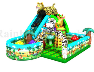 RB03014(10.5x8.5x6.5m) Inflatable zoo Funcity Bouncer, Inflatable castle with Slide